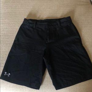 Boys UA black golf shorts